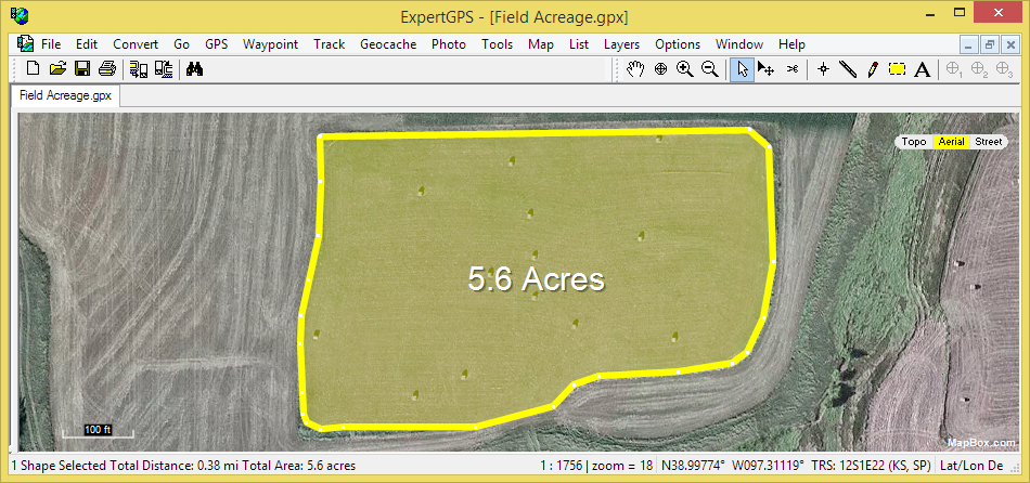 Automatically calculating the area of a farm field with ExpertGPS mapping software